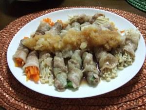 スターダストレビューVOH林さんのレシピ!豚バラ肉の野菜巻きみぞれ和え